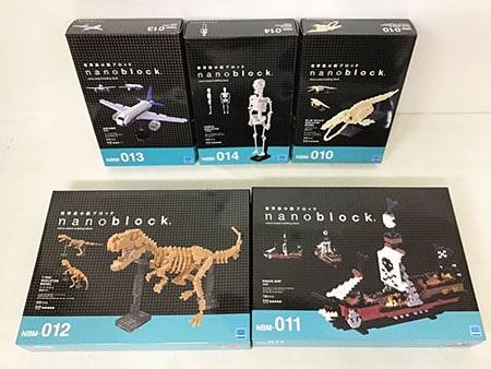 ナノブロック nanoblock ティラノサウルス、海賊船、シロナガスクジラ、人体骨格、旅客機買取
